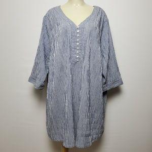 ULLA POPKEN BLUE LINED SHIRT DRESS 5XL